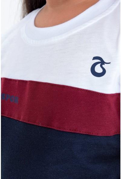 Ts Club T-Shirt Bisiklet Yaka İki Renk Bordo Çizgili