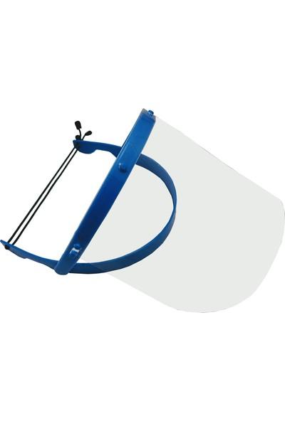 OEM Yüz Koruyucu Siperlik Şeffaf Oynar Başlıklı Ayarlı Lastikli Mavi Tekli
