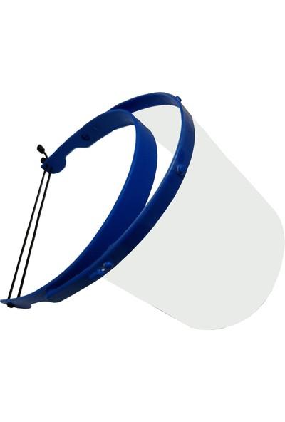 OEM Yüz Koruyucu Siperlik Şeffaf Oynar Başlıklı Ayarlı Lastikli Mavi 5'li