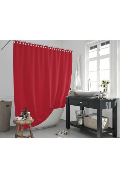 Jackline Polyester Kumaş Banyo Perdesi Duş Perdesi + Plastik C-Halka Askı Aparatı Kırmızı
