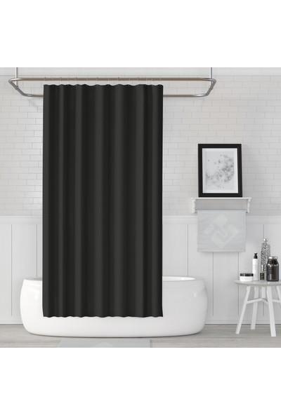 Jackline Polyester Kumaş Duş Perdesi Banyo Perdesi Plastik C-Halka Askı Aparatı Siyah