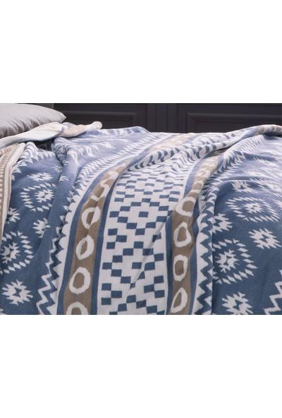English Home Folk Pamuklu Tek Kişilik Battaniye 150 x 200 Cm Mavi