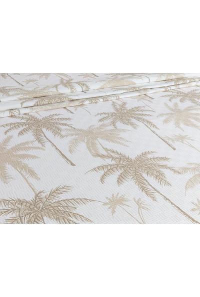 English Home Glitter Palm Baskılı Çift Kişilik Pike 200 x 220 Cm Bej