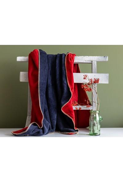 English Home Softy Düz Çift Kişilik Battaniye 200 x 220 Cm Kırmızı - Lacivert