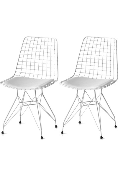 Grande Home Tel Mutfak Sandalyesi 2'li Set Beyaz