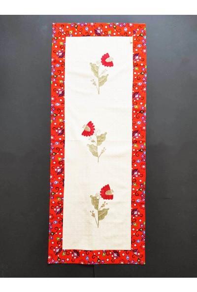 Wellstil Turuncu Renk Pazen Detaylı Çiçek Nakışlı Otantik Runner