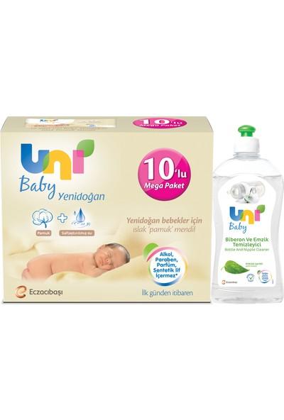 Uni Baby Yenidoğan Paketi 10'lu Islak Mendil ve Biberon Emzik Temizleyici 500 ml