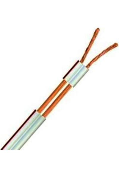 Hünka Kablo 2 x 0,75 mm H03VH-H Bitişik Yassı Kordon Hoparlör Kablosu Beyaz Tam Bakır Kırmızı 20 m