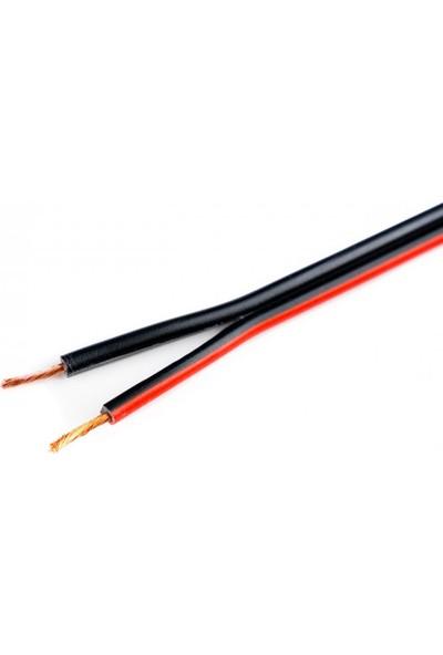 Hünka Kablo 2 x 0,75 mm H03VH-H Bitişik Yassı Kordon Hoparlör Kablosu Siyah Tam Bakır Kırmızı 11 m