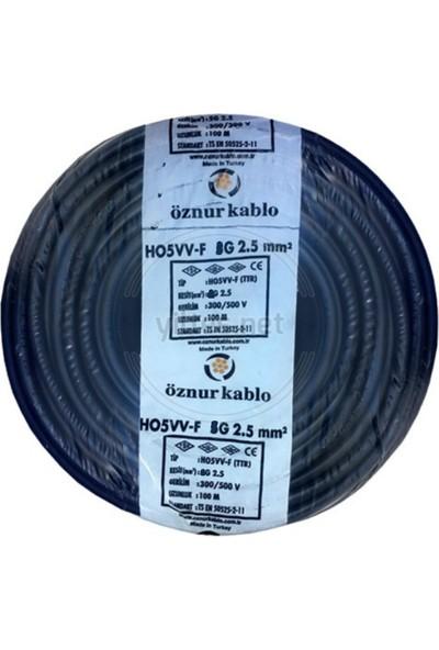 Öznur H05Vv-F 2 x 2,5 mm TTR Kablo Siyah Tam Bakır 20 m
