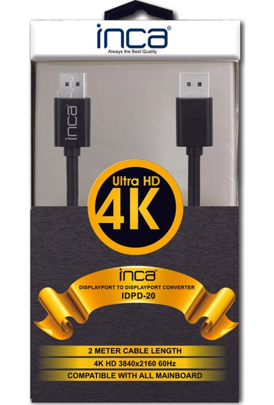 Inca Idpd-20 Displayport To Displayport 4K Kablo 2m