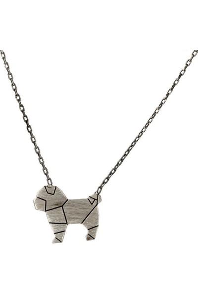 In Love Origami Köpek Geometrik Oksitli Gümüş Kolye