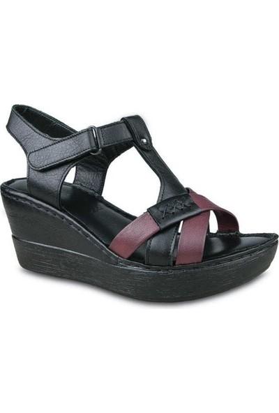 Ceyo 304 Deri Dolgu Topuk Sandalet