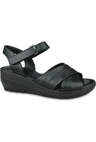 Ceyo 005 Deri Dolgu Topuk Sandalet