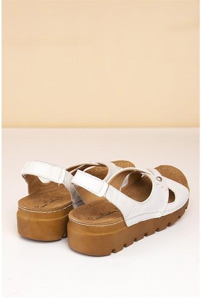Pierre Cardin Kadın Sandalet-Beyaz