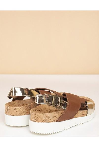 Pierre Cardin Kadın Günlük Sandalet-Taba