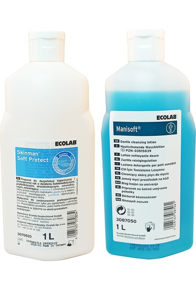 Ecolab Skinman Soft Protect El Dezenfektanı 1 lt ve Manisoft Bakım Temizleme Losyonu 1 lt