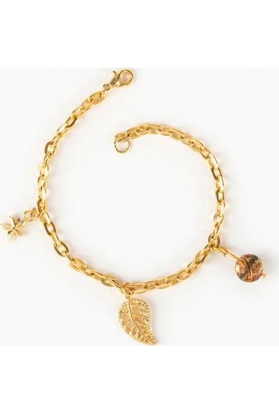 Beyza Teymur Gold Bijuteri Kaplama Yıldız, Yaprak Desenli ve Tibet Taşlı 17 cm