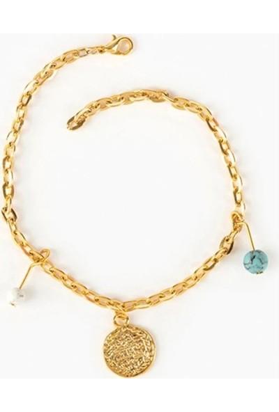 Beyza Teymur Gold Bijuteri Tuğra Desenli ve Turkuaz Taşlı 21 cm