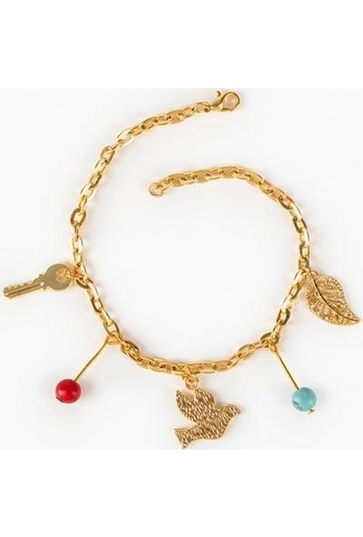 Beyza Teymur Gold Bijuteri Yaprak, Kuş, Anahtar ve Taşlı 20 cm