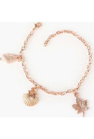 Beyza Teymur Rose Bijuteri Kaplama Deniz Kabuğu, Midye, Yaprak 20 cm
