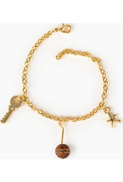 Beyza Teymur Gold Bijuteri Deniz Yıldızı, Anahtar ve Tibet Taşlı 17 cm
