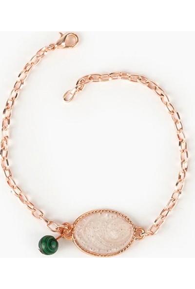 Beyza Teymur Rose Bijuteri Kaplama Sedef ve Malakit Taşlı 19 cm