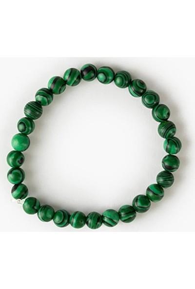 Beyza Teymur Doğal Yeşil Malakit Taşı Bilekliği 18-20 cm