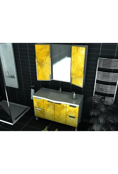Artila Işıklı Kapaklı Lav Seramik Lavabolu Aynalı Banyo Dolabı 120 x 200 cm