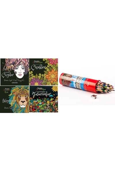 Karatay Yayınları Mandala Her Yaş Için Boyama Kitabı 4'lü - Faber Castell Kuru Boya Kalemi 36'lı - Traş
