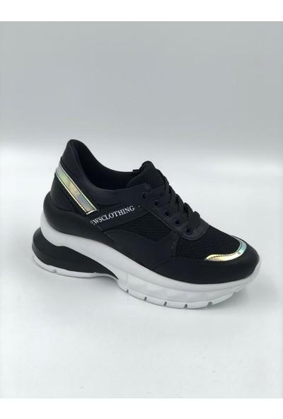Shoemark Helena Siyah Hologram Detaylı Sneakers