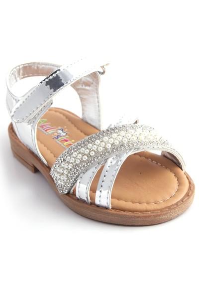 Akıllı Şirin Taş İşlemeli Kız Çocuk Sandalet Silver