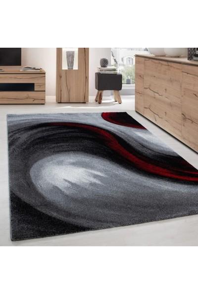 Ayyıldız Modern Desenli Halı Dalga Motifli Tasarım Siyah Gri Kırmızı 80 x 150 cm
