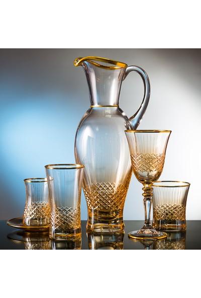 Kcd Cam Dekor Di̇zayn Antik Sarı 31 Parça Su Takımı