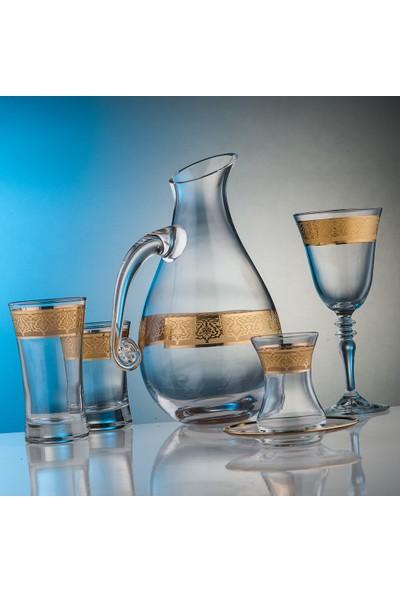 Kcd Cam Dekor Di̇zayn Gülistan Altın 31 Parça Su Takımı
