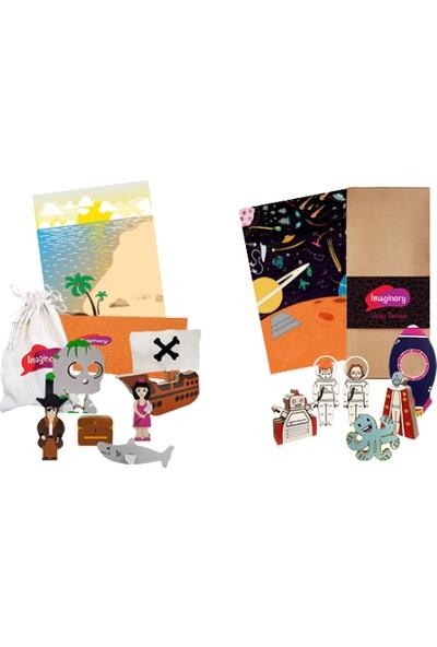 Alice & Grace Imaginory Hikaye Seti 2'li Paket - Korsan Uzay Temalı Ahşap Oyuncak
