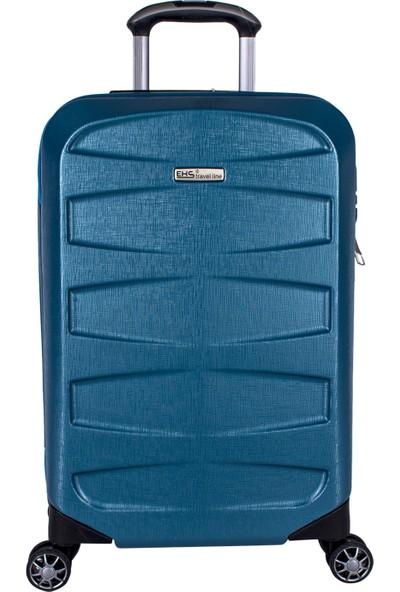 Ehs 5158 Abs 3'lü Valiz Seti 8 Tekerlek Valiz Mavi