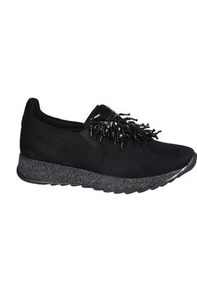 Miss Park Moda K111 Siyah Süet Kadın Sneakers