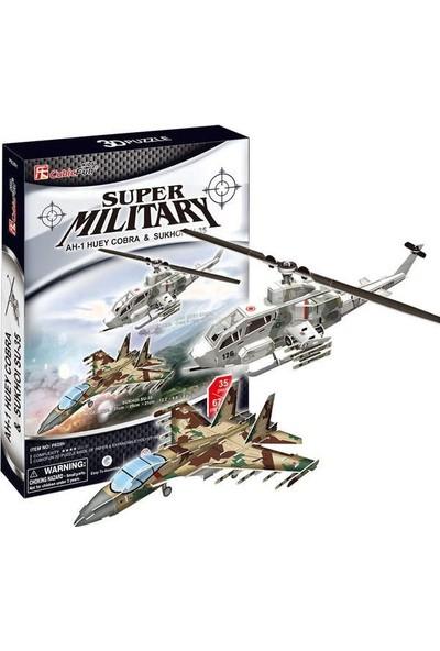 Cubic Fun P628H Super Military Ah-1 Huey Cobra And Sukhoi Su-35 3D Puzzle