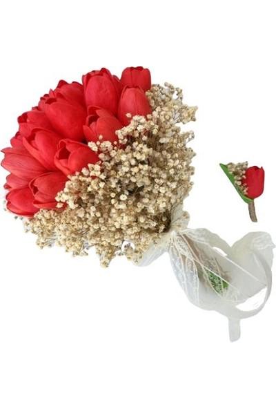 Dünya Hediye Kırmızı Islak Lale Krem Cipsolu Gelin Buketi ve Damat Yaka Çiçeği Seti