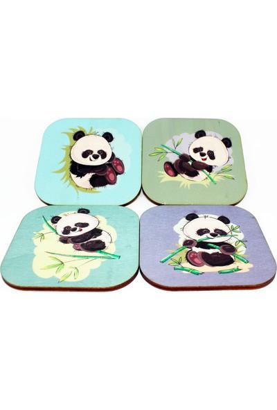 Iris Panda Desenli 4'lü ve Ahşap Kutulu Bardak Altlığı