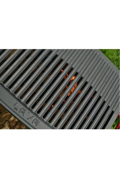 Lava Döküm Mangal Izgarası Çift Silikon Kulplu Ölçü 36 x 45 cm