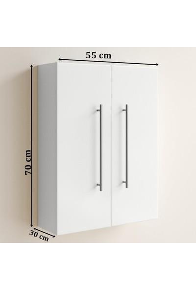 Taç Dekorasyon Çamaşır Makinesi Üstü Dolabı Beyaz 2'li
