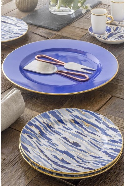 Güral Porselen El Dekoru Pasta Seti Mavi 7 Parça