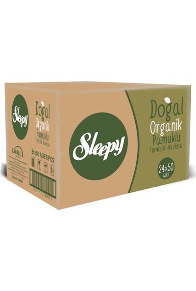 Sleepy Doğal Organik Pamuklu Islak Havlu Mendil (24x50 adet) 1200 Yaprak