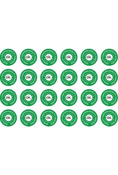 Etiket Sanatı Kendinden Yapışkanlı Etiket Kontrol Edildi Etiketi Sticker Çap 2 cm 1000'li