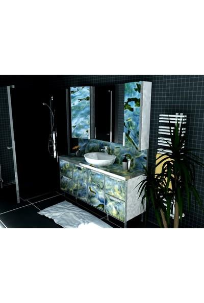 Artila Işıklı Kapaklı Kıyı Seramik Çanak Lavabolu Işıklı Tezgah ve Ara Panolu Banyo Dolabı 160 x 200 cm