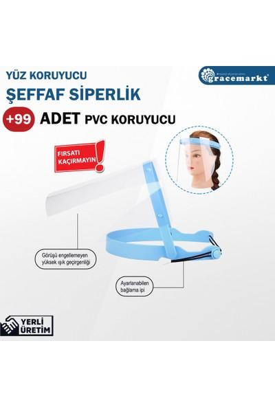 GraceMarkt Koruyucu Yüz Siperliği + 99 Adet Yedek Pvc Turkuaz
