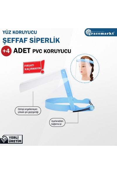 GraceMarkt Koruyucu Yüz Siperliği + 4 Adet Yedek Pvc Turkuaz