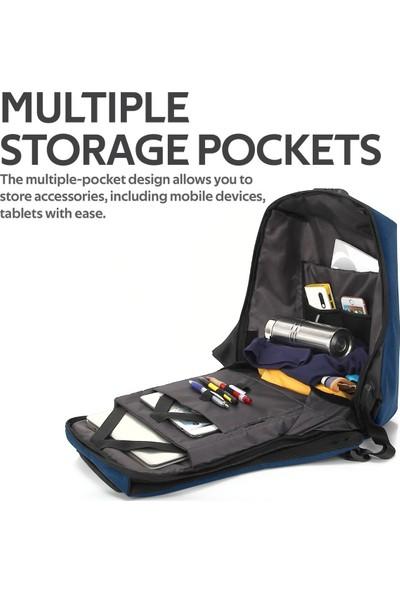Promate Defender-16 Notebook Laptop Sırt Çantası TSA Kilitli Telefon USB Şarj Bağlantılı 16 inç